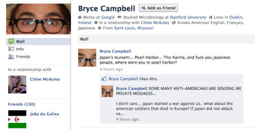 "Bryce Campbell: ""I don't care… japan started a war against us..  what about the american soldiers that died in Europe? if japan did not  attack us…"" From: St. Louis Plz don't reproduce."