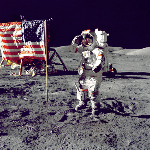 outofstateuniverse:  Commander of Apollo 17, Eugene A. Cernan, salutes to the American flag on the final lunar landing mission of the Apollo program. This photo was taken on December 13, 1972.