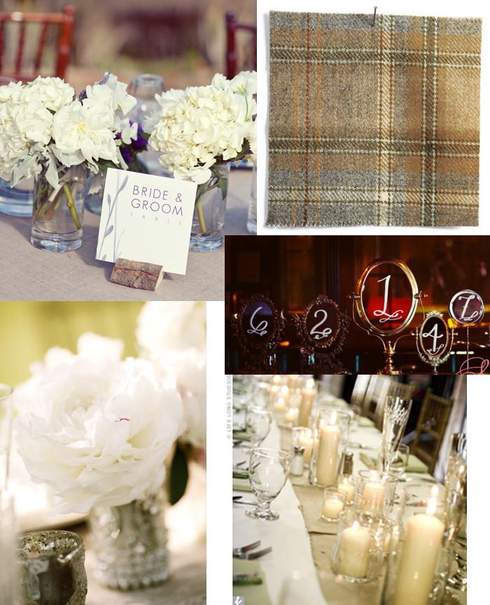 Inspiration board for the table settings. Plaid, flannel tablecloths with white flowers in jars and assorted glass vases. Table numbers written on vintage/salvaged vanity mirrors. Lots of white candles everywhere.