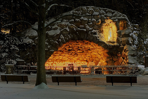 youcanneverbeoverdressed:  The Grotto at Notre Dame. One of the most peaceful places I've ever been without it being 'overly religious'.
