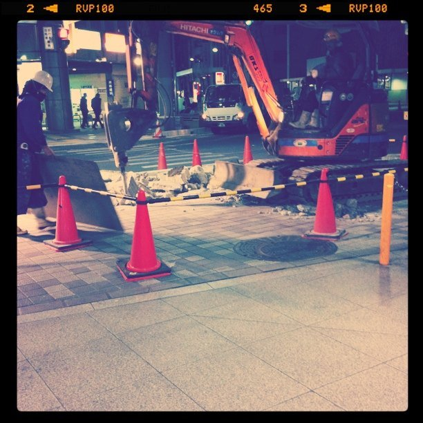 Late night construction.