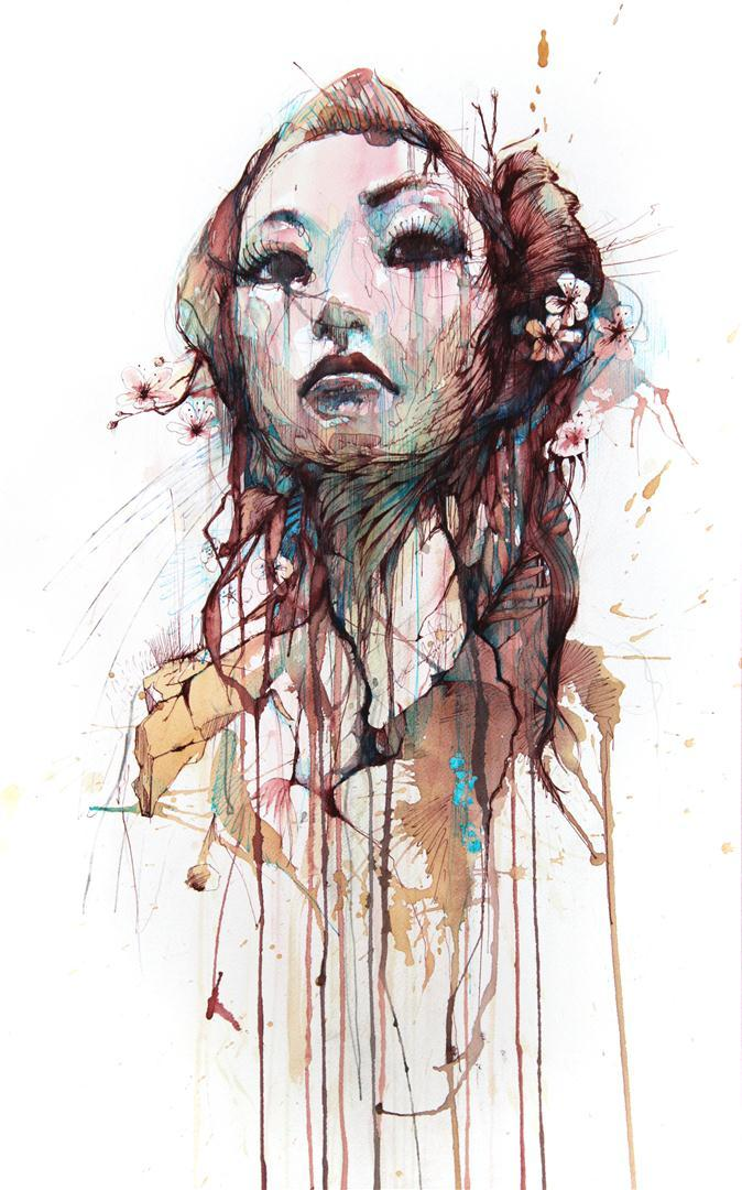 carnegriffiths:  Strength, Ink and tea on paper by carne griffiths