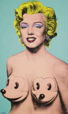 melisaki:  Marilyn Anti-Warhol #5 polymer paint and silkscreen on canvas by Ron English, 2005