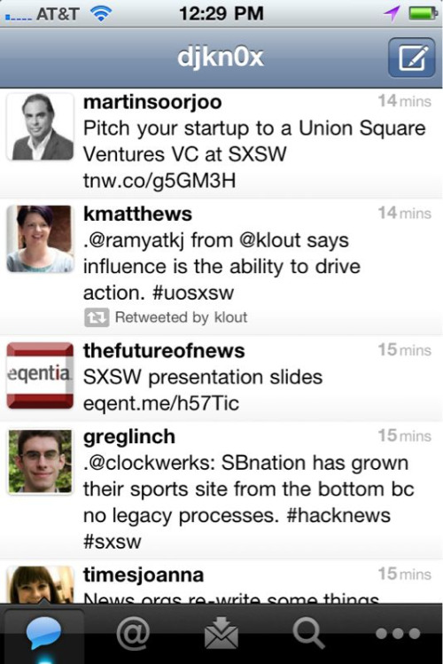 As I was just lamenting with a fellow startup-focused MBA classmate, our Twitter streams are making us very envious of everyone at SXSW (particularly during a morning spent learning about multiple regression).