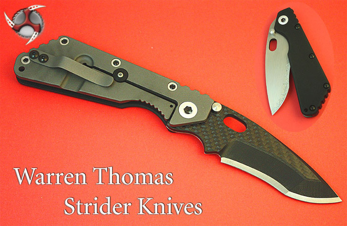 Warren Thomas Strider SMFAn upgraded version of the framelock folding knives used by the Marines, Warren Thomas' Strider SMF sports hi-tech materials including carbon fiber and satin-finished titanium.