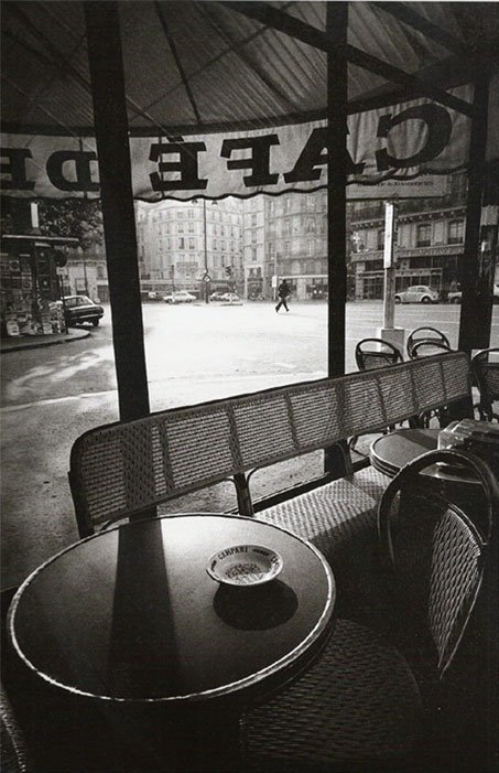 "Jeanloup Sieff Cafe de Flore, Paris, 1978 ""Photographic representation is, alas, never faithful to the sentiment that triggered it, but imperfect as it is, it is a naive attempt to postpone death, to steal from time a fall of light, a priviliged moment, which will never again recur, but will continue to live thanks to the photograph - like those stars that have been dead for thousands of years but whose light still travels through space to show us what they were."" —Jeanloup Sieff. Thanks to kvetchlandia and crashinglybeautiful"
