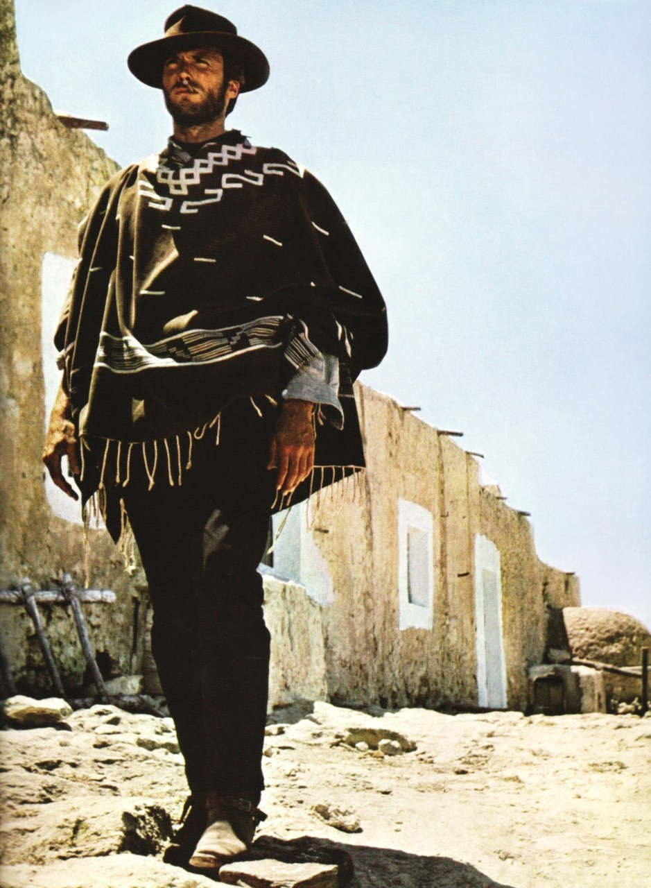 "Clint Eastwood signed on for Il Magnifico Stragnero, as A Fistful of Dollars (1964) was originally called, and flew off to Rome carrying his Rawhide pistols and gun belt, a flat hat he picked up in a costume shop, some black jeans and several boxes of the nasty little cigars—they made him feel ""cantankerous""—that would become his character's trademark.  'The Man With No Name' was largely Clint Eastwood's visionary creation."