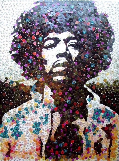 Jimi Hendrix mosaic made with 5,000 guitar picks was created by artist Ed Chapman