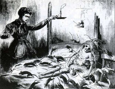 toyboxkiller:  HORRIBLE DISCOVERY OF A GIRL EATEN BY RATS (1870s)A most appalling discovery was made last week in the town of Haverball. The circumstances of the case are both remarkable and horrible to the last degree. The facts are as follows:For some months past a man named William Laslett, his wife, and adaughter (a girl about thirteen years of age) have occupied two rooms on the basement story of a house in Princess Street. Laslett, itappears, is a traveling hawker in the hardware line; he keeps a horseand cart, with which he travels from town to town, and has beenaccustomed to be absent from home six or eight weeks at a time.Occasionally, he would take with him his daughter on his travelingexpeditions, but more frequently his wife accompanied him.He left Princess Street with the latter seven weeks ago, Jane Laslettthe daughter remaining behind. The young girl was seen by her neighbors for a few days after her parents had departed, when all of a sudden she was missed. The doors of both rooms in the occupation of the Laslett's were locked, and the natural inference was that Jane had left to join her parents, and she had been known to do so before on more than one occasion. Weeks passed over; the suspicions of the other occupants of the house that something was amiss became stronger every day.An unpleasant and sickening odour crept up the staircase and found its way into the several apartments. On Monday last, a carpenter who occupied one of the upper rooms was prevailed upon to break open the door, which led to those on the basement, whereupon he was horror struck at the sight presented to him.Upon the door being burst open, a legion of rats scampered in alldirections. The greater portion of the body of the poor girl had beendevoured by the rats. The medical gentlemen who have since made a post mortem examination, concur in the opinion that Jane Laslett diedsuddenly from disease of the heart of long standing - that her deathhad in all probability taken place some weeks back, since which timethe rats had been feeding on the body.The father and mother have not yet returned, nor do the neighbours know where to communicate with them.
