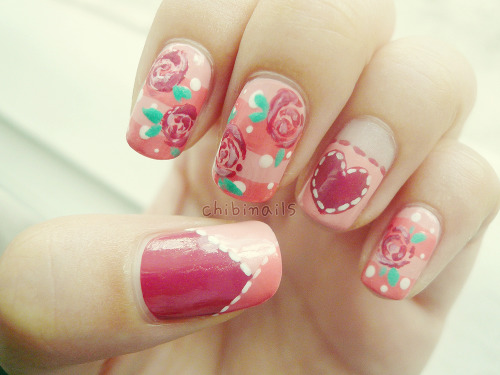 girly floral nails i haven't done in ages~ ORLY - Cotton CandyHolika Holika - 03 체리 핑크 (Cherry Pink)Holika Holika - 08 글램 나잇 (Glam Night) Baviphat - #27 플럼 와인 (Plum Wine)Nature Republic - WH002 White