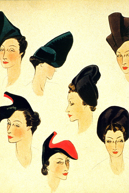 Schiaparelli hat designs, including the shoe hat she collaborated on with Salvador Dali