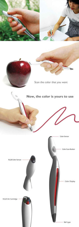 Scan Pen! Scan the colour you like and start drawing with it. What a lovely concept!