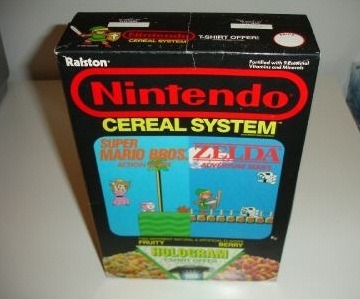 pablets:  whencookiesscream:  There was Nintendo cereal? O.O I want some. =[  Cereal guy & Rebecca approve.