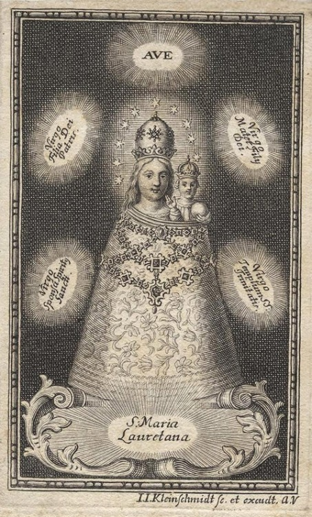 S. Maria Lauretana18th century copper engraving of Our Lady of Loreto with Latin acclamations: - Hail Virgin Daughter of God the Father- (Hail) Virgin Mother of God the Son- (Hail) Virgin Bride of the Holy Spirit- (Hail) Virgin Temple of the Holy Trinity