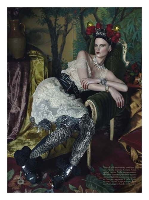 "darklamb:  ""Wasted Luxury"" by Steven Meisel for Vogue Italia What a gorgeous editorial. Vaguely reminds me of some Ingres odalisque paintings.. just with really great clothes on instead of nudes."
