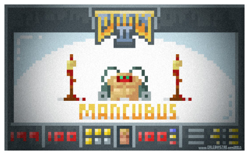 "This is 4/11 in a series inspired by the id game. MANCUBUS ""He is fat, ugly, and likes shooting enormous fireballs into you from his arms."" (manual) This guy was really fun to redesign. The original is easily the most disgusting of the DOOM II enemies, but now look at him. - caleb"