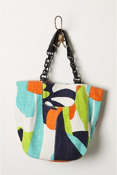 Fun tote for Spring and Summer! Love the colors! This one is from Anthropologie. I will be on the lookout for some more great totes and bags!