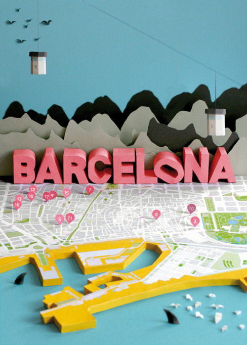 karenh:  3D paper model of a Barcelona city map by Anna Härlin(first discovered via strictlypaper)