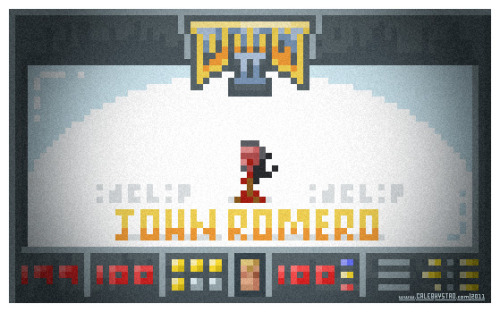 This is 11/11 in a series inspired by the id game. JOHN ROMERO'S HEAD ON A STICK You could only see this by using the idclip cheat code at the end of the game.  The true final boss of DOOM!  Amazing.  (Just in case you're not sure who Romero is.) There ends the second series. With a head on a stick! - caleb