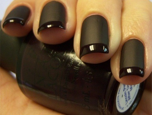 Modern French manicure - matte and shiny black.  I totally want to try this!