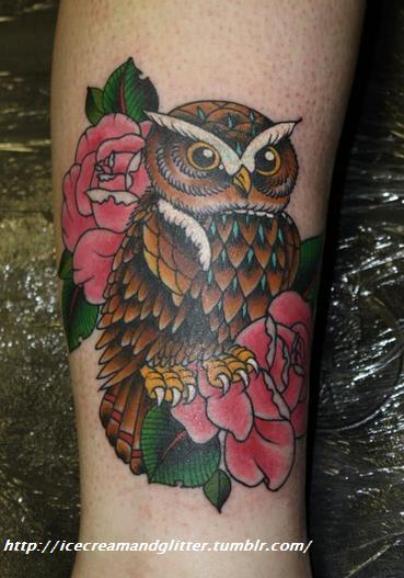 Archimedes the owl :D Tattooed by Naomi Smith at Newskool Tattoo, Ewell, Surrey, UK