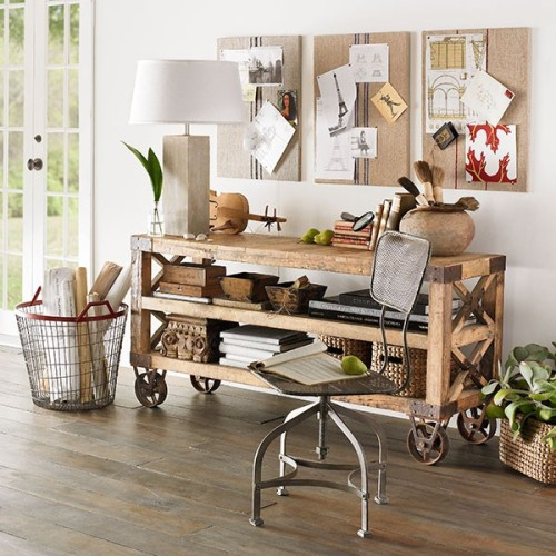 recycled, pine, wood, console, table, storage, | Wisteria - eclectic - home office - - by wisteria.com