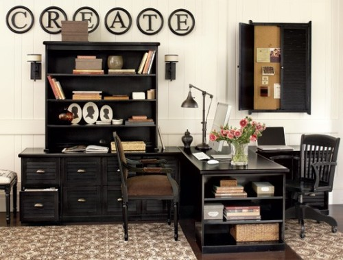 I love the wide, double sided desk.homeandhearth:  Home Office Designs| Home Office Decor| Ballard Designs (via krystaldawn)