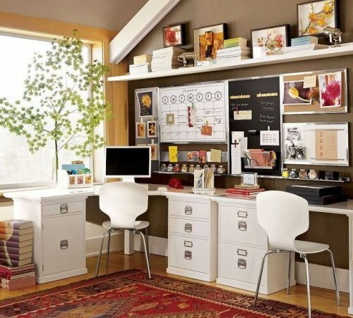 Brown & White Home Office - eclectic - home office -