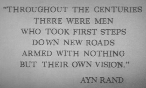 quote from ayn rand's anthem from inside the american adventure rotunda in epcot center
