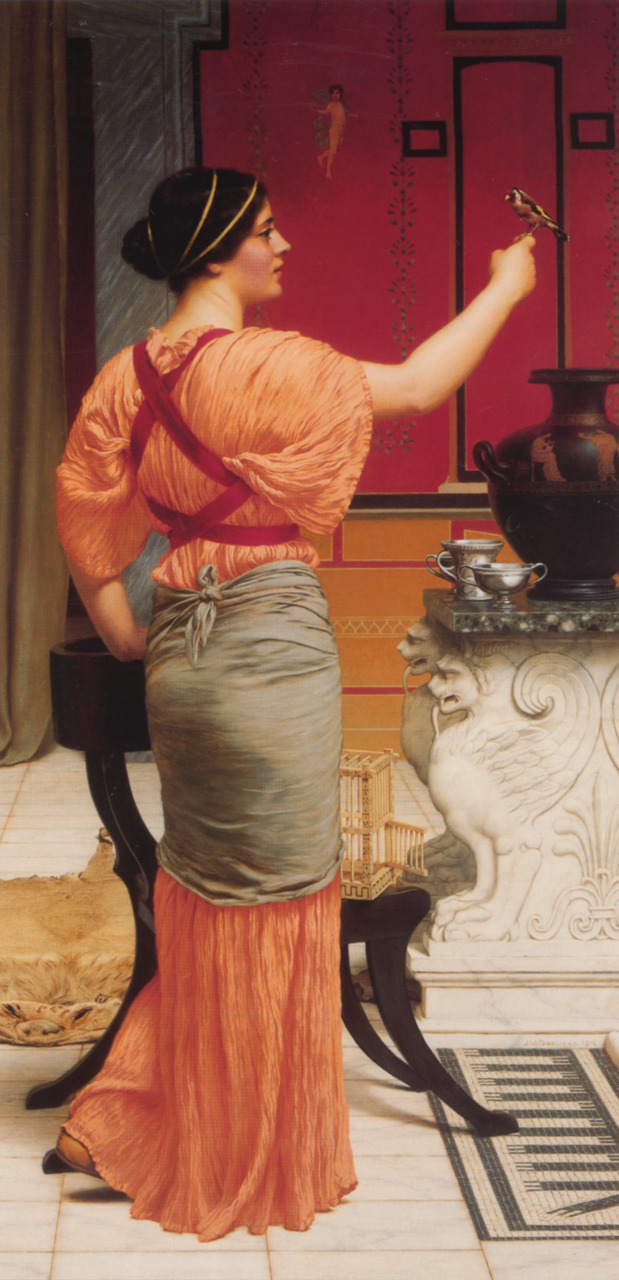 fuckyeahpreraphaelites:  Lesbia with her SparrowJohn William Godward 1916