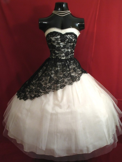 1950's Strapless White Tulle with Black Lace Prom Dress