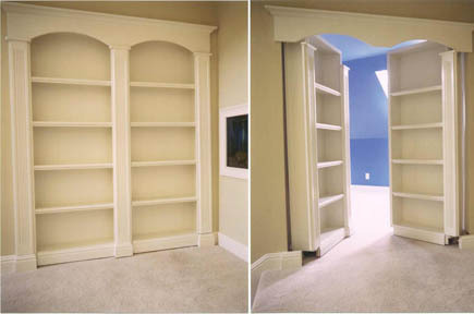 stashvault:  Double secret pivoting bookshelf doors open to reveal hidden room
