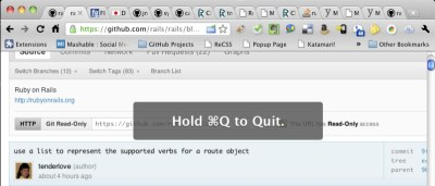 "littlebigdetails:  Chrome (Dev Channel): Displays ""Hold ⌘Q to Quit"" instead of immediately quitting to make sure you didn't intent to press ⌘W. /via Micheal"
