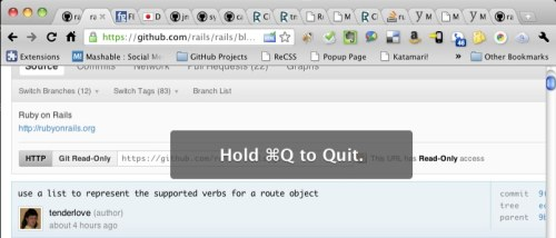 "littlebigdetails:  Chrome (Dev Channel): Displays ""Hold ⌘Q to Quit"" instead of immediately quitting to make sure you didn't intent to press ⌘W. /via Micheal  The single greatest feature on Chrome"