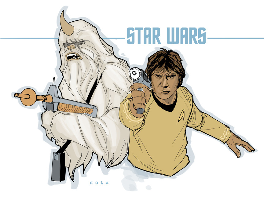 "twobitjusticeleague:  philnoto:  ""Chewie, set your phaser to stun!""  Yes, yes, it's two nerd things smushed into one but I don't care. This is swell."