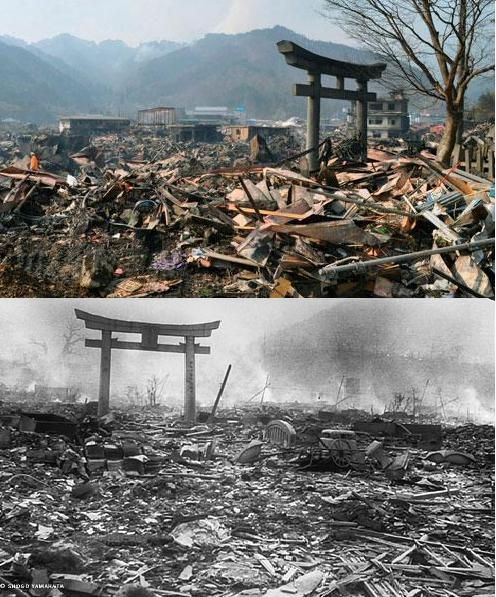 "d-d-d:  Destruction: Natural Vs. Man-Made Above: A destroyed landscape in Otsuchi village, Iwate Prefecture in northern Japan.  March 14, 2011. (Associated Press/Kyodo News)  #Below: Nagasaki following the August 9, 1945 dropping of the atomic bomb ""Fat Man""."