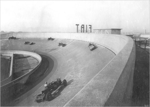 honey-monsoon:  The rooftop of Fiat's Lingotto factory - Turin, 1929 Car assembly began on the bottom floor, and the vehicles progressed to a fuller state of finish up a series of ramps from one floor to the next until they reached the building's top level. It was here that the vehicles were started and driven around a banked test track on the rooftop.