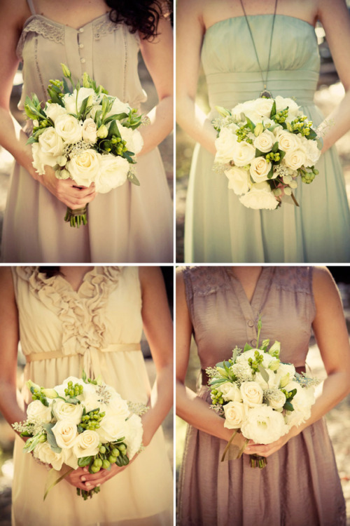 Absolutely love all these dresses and bouquets.