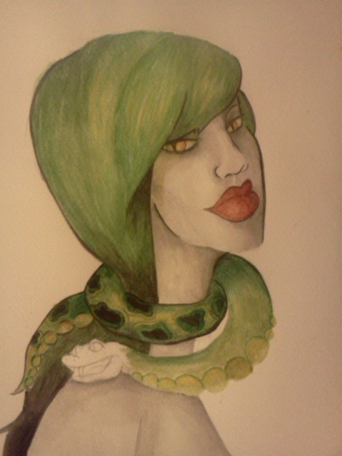 Slytherin girl progress shot. Lookin' pretty snazzy for watercolor, I'd say.