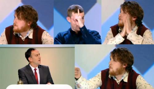fuckyeahpanelgames:  Tim Key: I thought that Russell Tovey? From Being Human. Angus Deayton: That's Russell there. Tim: I think he might be lying because he  said his one and rubbed his hands. He did a lot of rubbing, which is  what I do when I lie. Angus: Right. So this is just going on body language. Tim: I wasn't listening. They're quite a long way away.  I thought Tim Key and Alex Horne were great on this, but nobody in the studio was laughing at them!