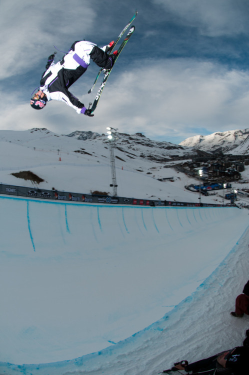 Simon Dumont getting loose for the Ski SuperPipe Elims. Check out the  full gallery from last nights practice and you can tune in live from  your computer today at 1pm EST.