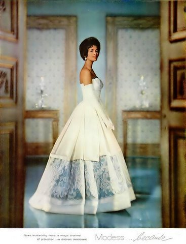 Model Helen Williams in a 1960 advertisement for Modess sanitary napkins.