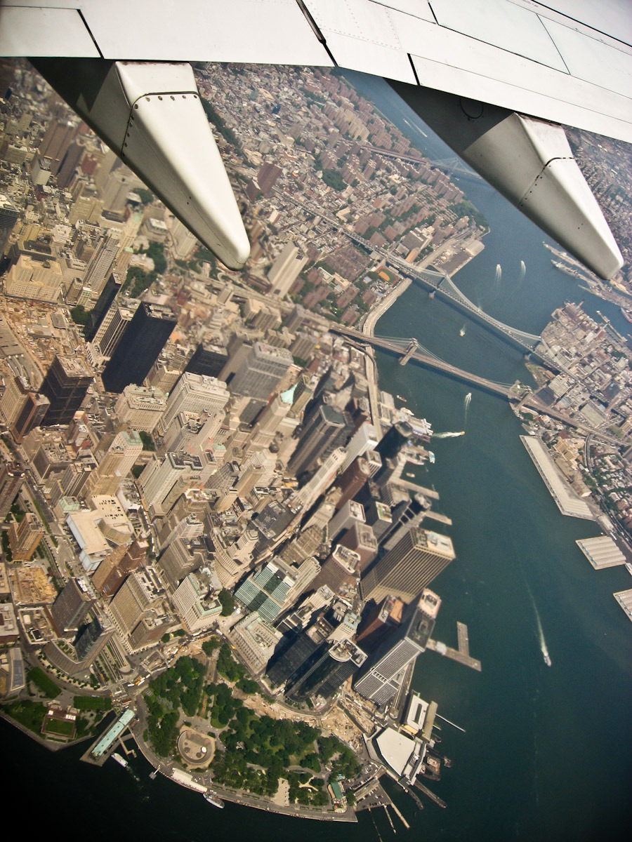 An aerial view of southern tip of Manhattan, shot in plane back from Chicago in 2007. Looks like it gets fuzzy in the middle of the picture, but these pics are so tough to get. The time of day, your seat location, flight pattern and cleanliness of the window all come into play.