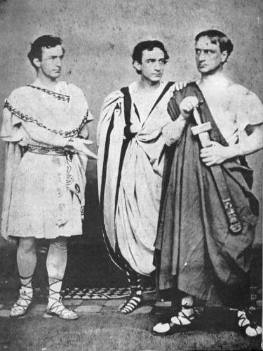 dynamoe:  Et Tu, Brute?meet Sic Semper Tyrranis John Wilkes Booth (right), Edwin Booth and Junius Brutus Booth, Jr. in Shakespeare's Julius Caesar in 1864. Have a safe and festive Ides of March, everybody!    This is a phenomenal photo.