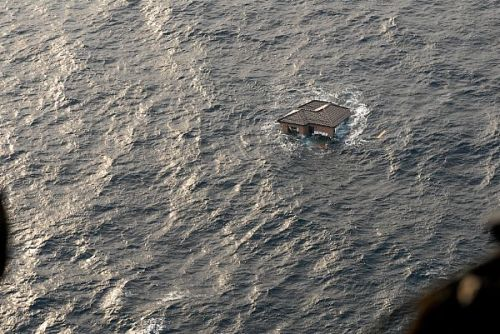 A Japanese home is adrift in the Pacific Ocean. U.S. Navy Photo via @msnbcDayside.