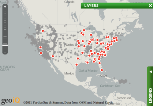 "sunfoundation:  Nuclear power plants live along fault lines  As recent events have shown in Japan, nuclear power plants are just as  vulnerable to natural disasters as anything else. So here at Sunlight we  were curious about the locations of domestic nuclear reactors. Using  data from the Nuclear Regulatory Commission and the U.S. Geological  Survey, we generated the following map, which shows the location of the  aforementioned reactors (there are 104 of them) vis-a-vis geological  fault lines. We also included locations of significant historical  earthquakes. Take a look and see if we might be vulnerable to a nuclear  disaster if/when ""the big one"" hits, and click on the red dots to learn  more about each nuclear power plant."
