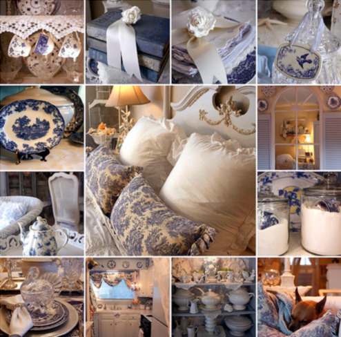 cheriskeepsakebox:     This is the most beautiful blue and white collage I have seen. LOOK AT THOSE BLUE TOILE PILLOWS!!! It's from romantichomes.blogspot.com