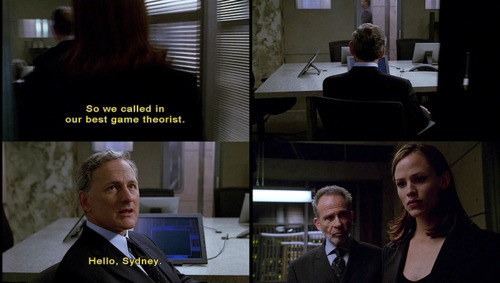 "Alias 1x03  I love how Sloane introduces Jack as their best game theorist, which is basically safe 21st century-speak for, ""I'm good at predicting things, yo.""You know what else he's good at, according to his agent profile?PhysicsAeronauticsEngineeringCryptologyLinguisticsSound familiar? Because it does to me."