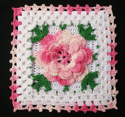 cajunmama:  Thread Crochet Potholder with Pink Rose (by Acadian Crochet)