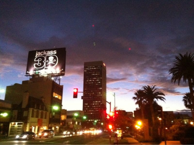 sunset on the miracle mile.